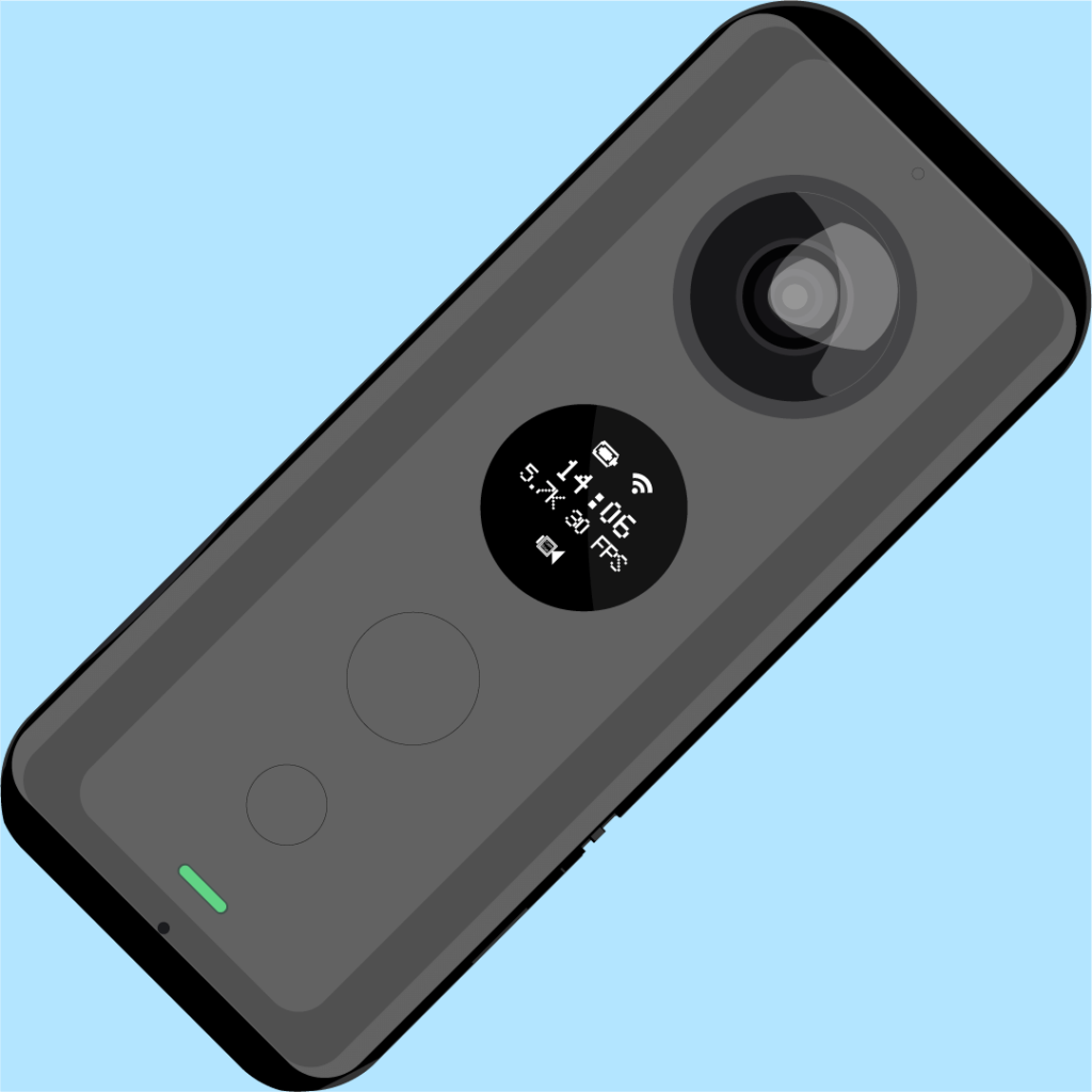 Image of an Insta360 ONE X we created for the manual of the Insta360 ONE X in Dutch.